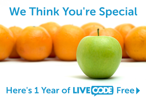 We think you are special - get 1 year of LiveCode FREE
